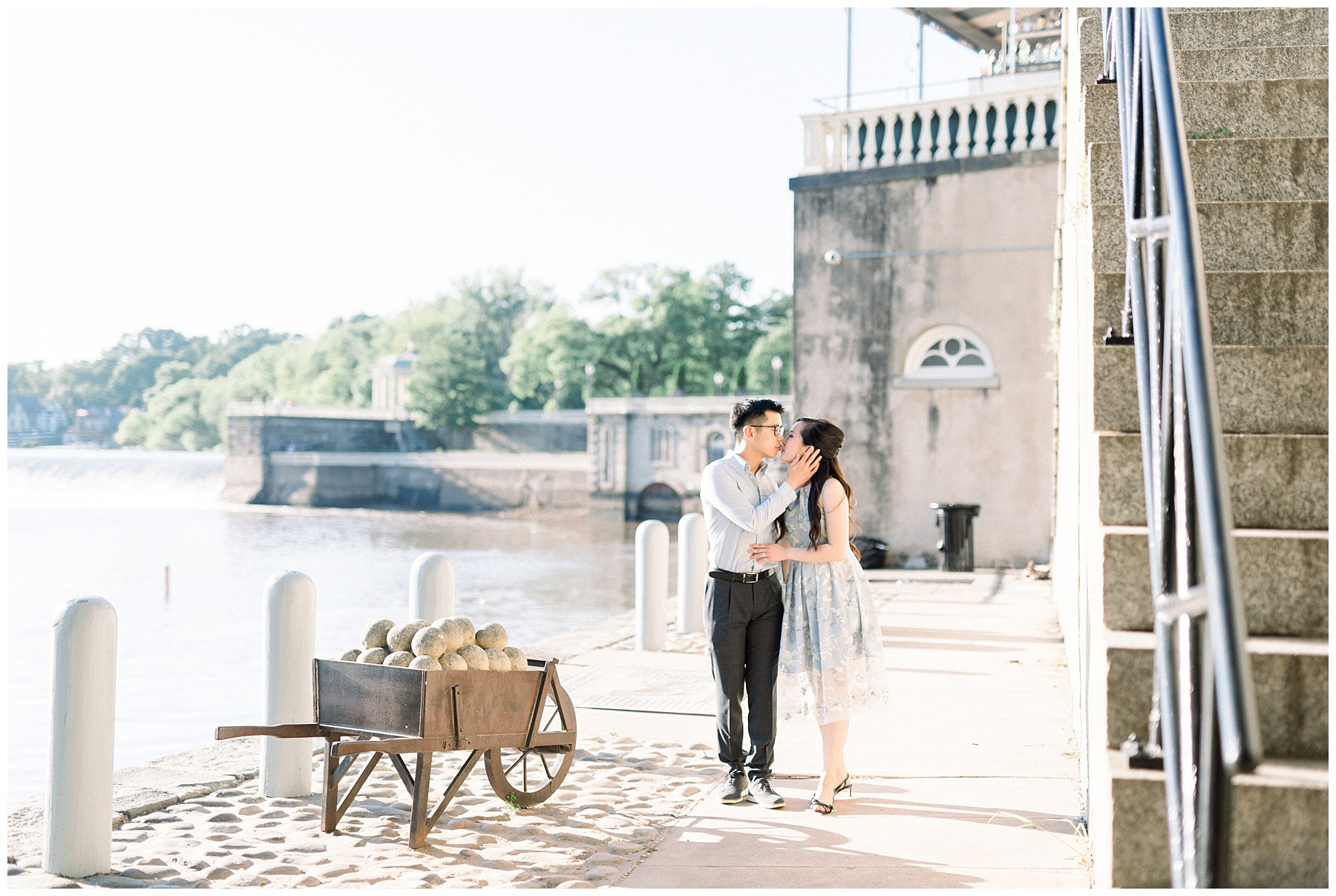 Fairmount Water Works Cescaphe Art Museum Philadelphia Pennsylvania Engagement Wedding Bucks County Photographer Amber Dawn Photography