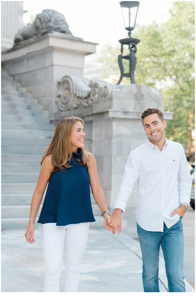 Old City Philly engagement session at Merchants' Exchange Building